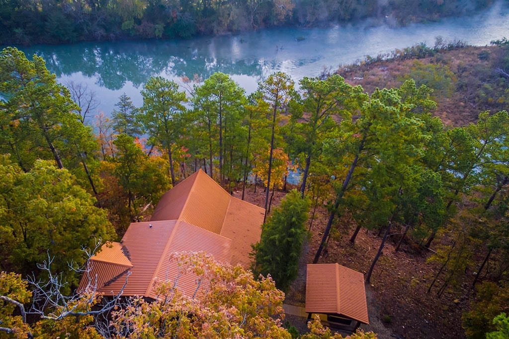 Aerial view of Heaven on the River cabin.
