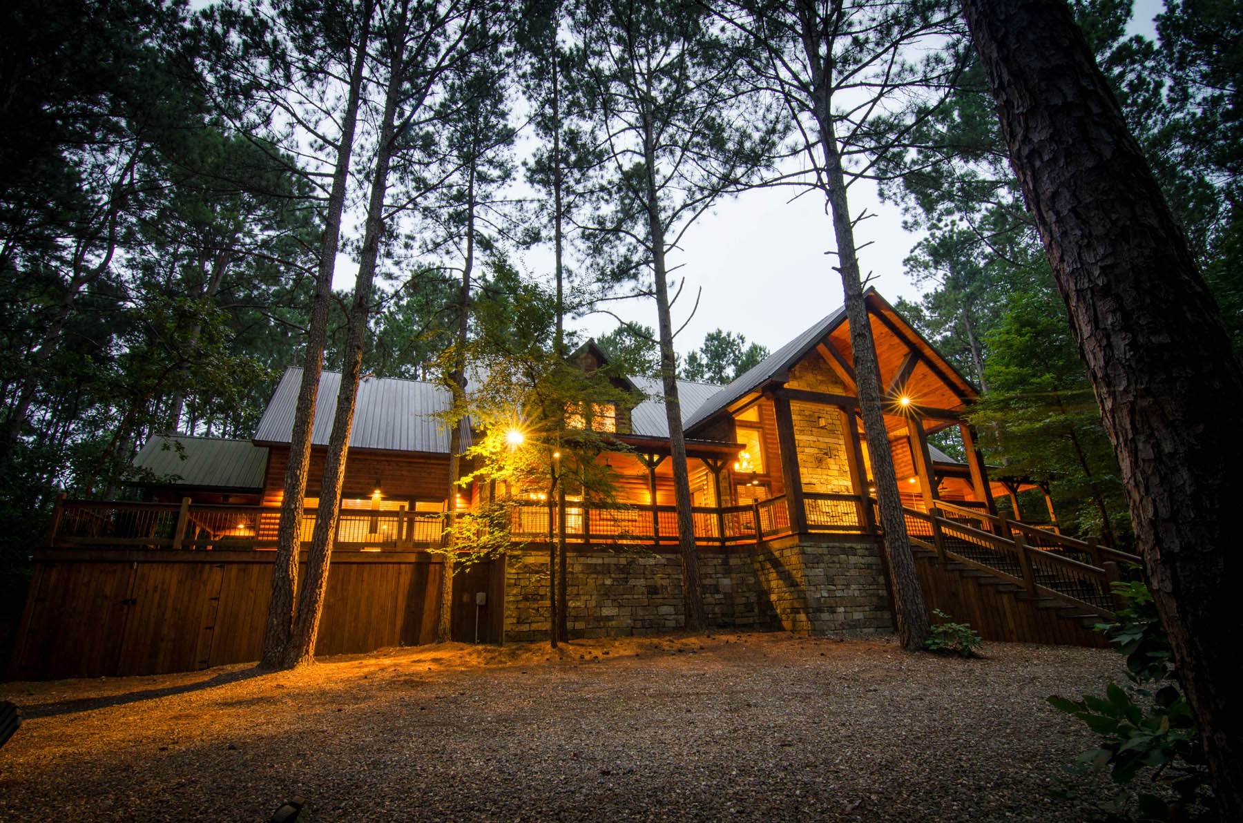 The Great Outdoors cabin exterior.